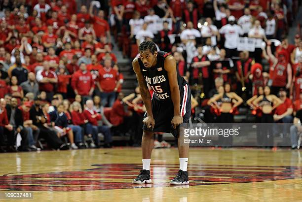 Kawhi Leonard of the San Diego State Aztecs watches a teammate shoot a free throw during their game against the UNLV Rebels at the Thomas Mack Center...