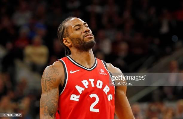 Kawhi Leonard of the Toronto Raptors after missing a foul shot against the San Antonio Spurs at ATT Center on January 3 2019 in San Antonio Texas...