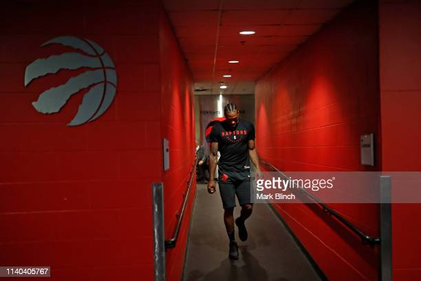Kawhi Leonard of the Toronto Raptors arrives at the arena before Game Two of the Eastern Conference Semifinals of the 2019 NBA Playoffs on April 29...