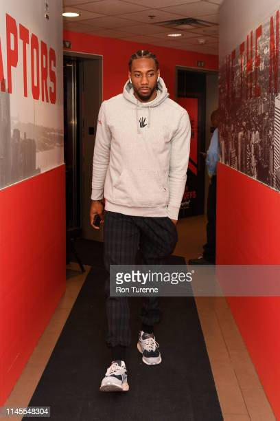 Kawhi Leonard of the Toronto Raptors arrives at the arena before the game against the Milwaukee Bucks in Game Four of the Eastern Conference Finals...