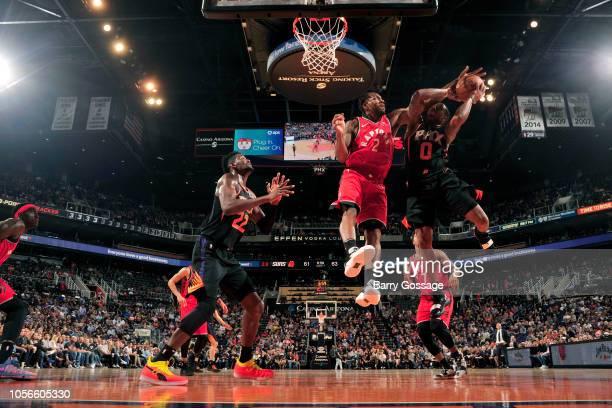 Kawhi Leonard of the Toronto Raptors blocks a shot against the Phoenix Suns on November 2 2018 at Talking Stick Resort Arena in Phoenix Arizona NOTE...