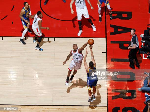 Kawhi Leonard of the Toronto Raptors blocks the shot of Klay Thompson of the Golden State Warriors during Game Five of the NBA Finals on June 10,...
