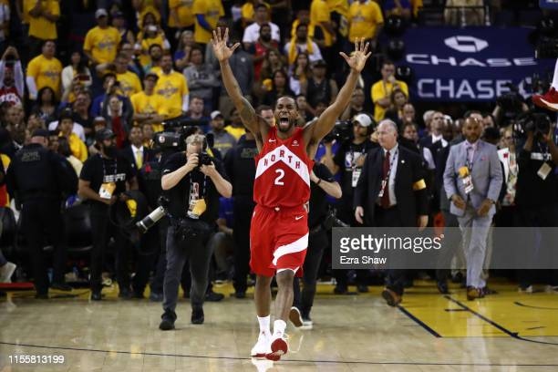 Kawhi Leonard of the Toronto Raptors celebrates his teams win over the Golden State Warriors in Game Six to win the 2019 NBA Finals at ORACLE Arena...