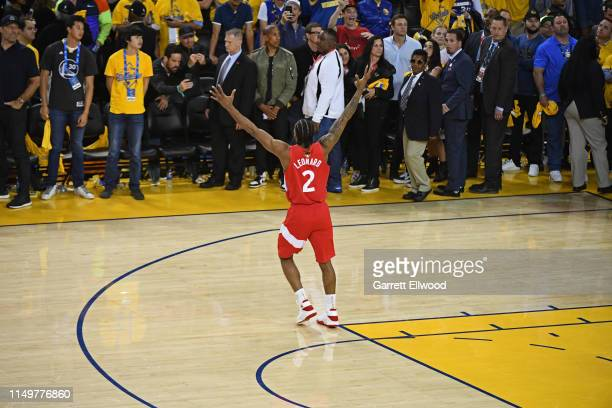 Kawhi Leonard of the Toronto Raptors celebrates on court after winning Game Six of the NBA Finals against the Golden State Warriors on June 13, 2019...