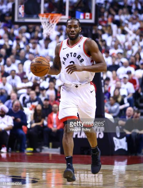 Kawhi Leonard of the Toronto Raptors dribbles the ball during Game Two of the second round of the 2019 NBA Playoffs against the Philadelphia 76ers at...