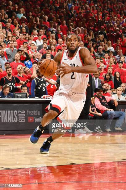 Kawhi Leonard of the Toronto Raptors drives through the paint during the game against the Milwaukee Bucks during Game Six of the Eastern Conference...