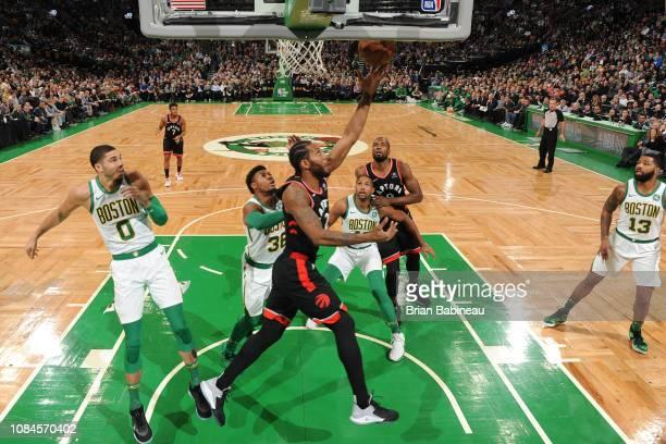 Kawhi Leonard of the Toronto Raptors drives to the basket against the Boston Celtics on January 16 2019 at the TD Garden in Boston Massachusetts NOTE...