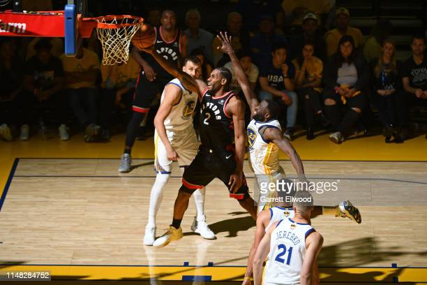 Kawhi Leonard of the Toronto Raptors drives to the basket against the Golden State Warriors during Game Three of the NBA Finals on June 5, 2019 at...