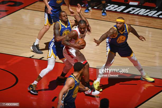 Kawhi Leonard of the Toronto Raptors drives to the basket against the Golden State Warriors during Game Five of the NBA Finals on June 10, 2019 at...