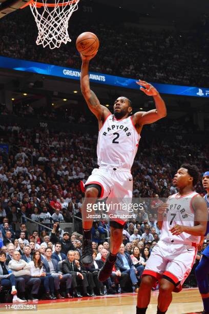 Kawhi Leonard of the Toronto Raptors dunks the ball against the Philadelphia 76ers during Game Two of the Eastern Conference Semifinals of the 2019...