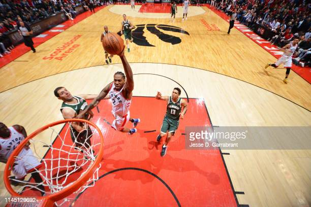 Kawhi Leonard of the Toronto Raptors dunks the ball against the Milwaukee Bucks during Game Three of the Eastern Conference Finals of the 2019 NBA...