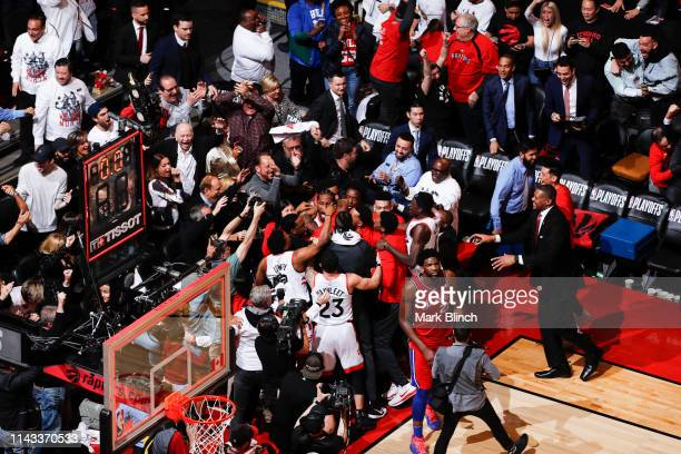 Kawhi Leonard of the Toronto Raptors hits the game winning shot against the Philadelphia 76ers during Game Seven of the Eastern Conference Semifinals...