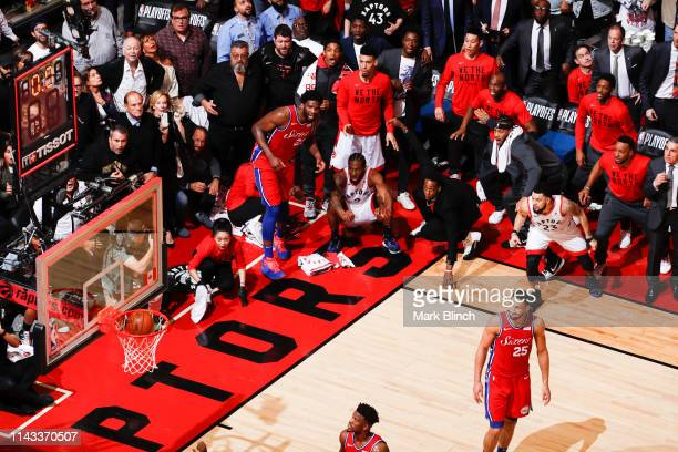 Kawhi Leonard of the Toronto Raptors hits the game-winning shot against the Philadelphia 76ers during Game Seven of the Eastern Conference Semifinals...