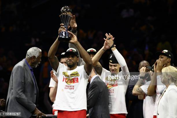 Kawhi Leonard of the Toronto Raptors is awarded the MVP after his team defeated the Golden State Warriors to win Game Six of the 2019 NBA Finals at...