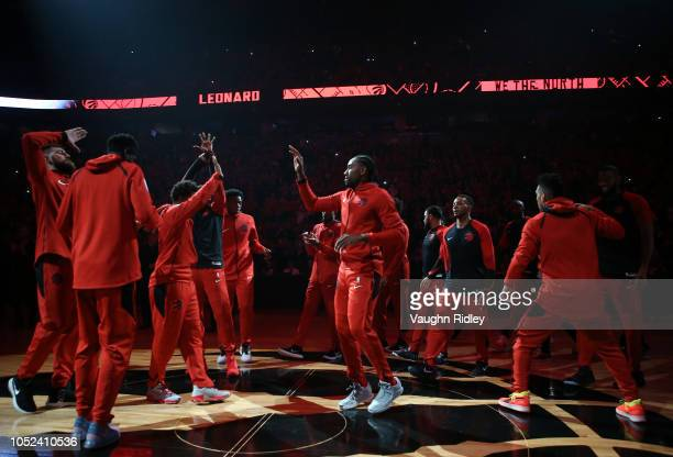Kawhi Leonard of the Toronto Raptors is introduced to the crowd prior to the first half of the NBA season opener against the Cleveland Cavaliers at...
