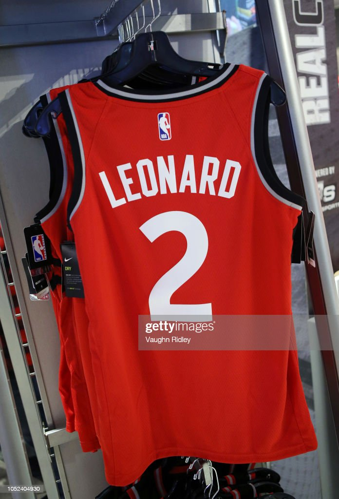 pretty nice a66f5 5b738 Kawhi Leonard of the Toronto Raptors jersey in the team shop ...