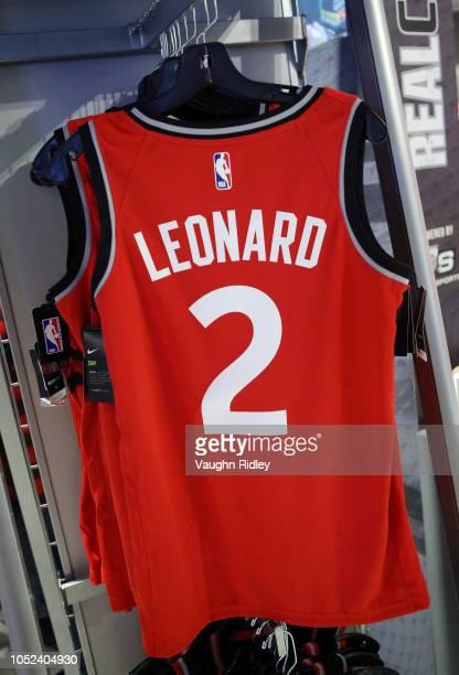 Kawhi Leonard of the Toronto Raptors jersey in the team shop prior to the NBA season opener between the Cleveland Cavaliers and the Toronto Raptors...