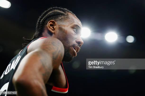Kawhi Leonard of the Toronto Raptors looks on during the first half against the Boston Celtics at TD Garden on November 16 2018 in Boston...