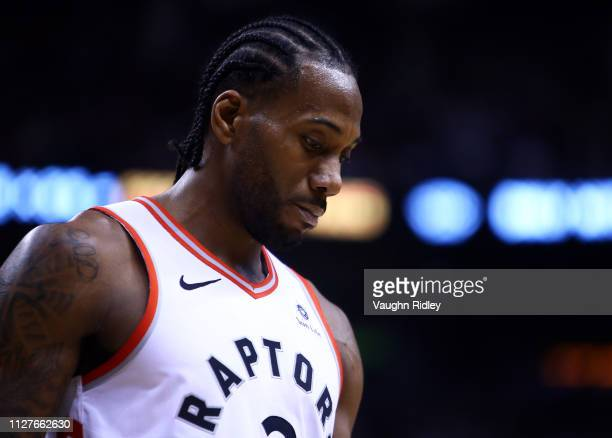 Kawhi Leonard of the Toronto Raptors looks on during the second half of an NBA game against the Boston Celtics at Scotiabank Arena on February 26...