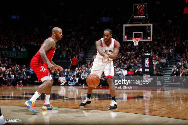 Kawhi Leonard of the Toronto Raptors passes the ball against the Houston Rockets on March 5 2019 at Scotiabank Arena in Toronto Ontario Canada NOTE...