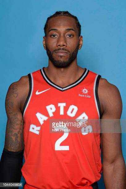Kawhi Leonard of the Toronto Raptors poses for a head shot during media day at Scotiabank Arena on September 24 2018 in Toronto Canada NOTE TO USER...