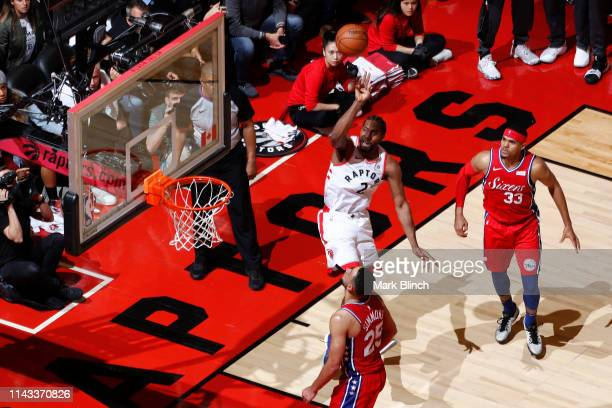 Kawhi Leonard of the Toronto Raptors puts up the shot against the Philadelphia 76ers during Game Seven of the Eastern Conference Semifinals of the...