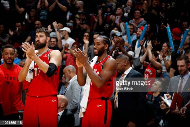 Kawhi Leonard of the Toronto Raptors reacts during a preseason game against the Brooklyn Nets on October 10 2018 at Bell Centre in Montreal Canada...