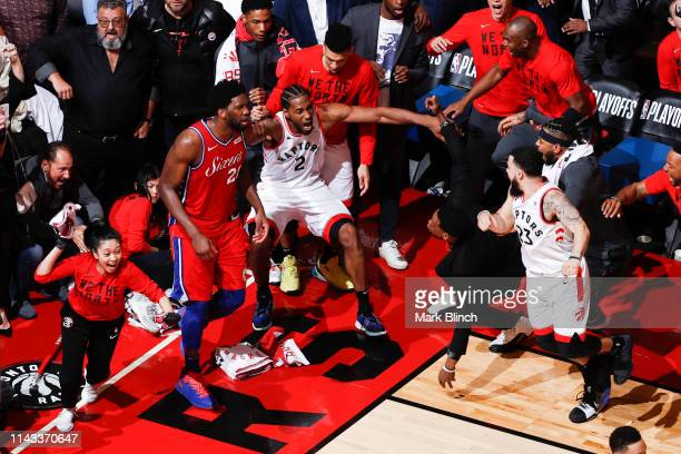 Kawhi Leonard of the Toronto Raptors reacts to hitting the game winning shot against the Philadelphia 76ers during Game Seven of the Eastern...