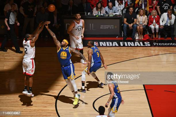 Kawhi Leonard of the Toronto Raptors shoots a three point basket against the Golden State Warriors during Game Five of the NBA Finals on June 10 2019...