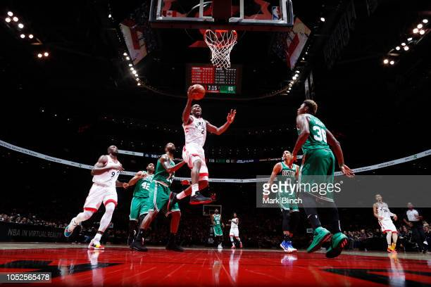 Kawhi Leonard of the Toronto Raptors shoots the ball against the Boston Celtics on October 19 2018 at the Air Canada Centre in Toronto Ontario Canada...