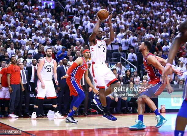 Kawhi Leonard of the Toronto Raptors shoots the ball during Game Seven of the second round of the 2019 NBA Playoffs against the Philadelphia 76ers at...
