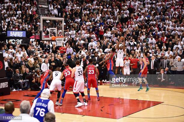 Kawhi Leonard of the Toronto Raptors shoots the game winning basket against the Philadelphia 76ers during Game Seven of the Eastern Conference...