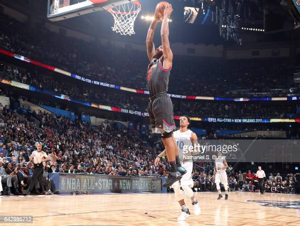 Kawhi Leonard of the Western Conference AllStars dunks during the NBA AllStar Game as part of the 2017 NBA All Star Weekend on February 19 2017 at...