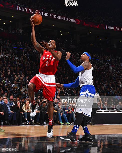 Kawhi Leonard of the Western Conference AllStars goes up of for the layup during the NBA AllStar Game as part of the 2016 NBA All Star Weekend on...