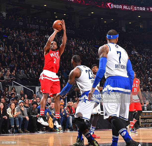 Kawhi Leonard of the Western Conference AllStars shoots the ball during the NBA AllStar Game as part of the 2016 NBA All Star Weekend on February 14...