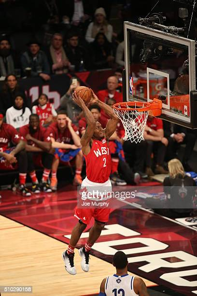Kawhi Leonard of the Western Conference dunks against the Eastern Conference during the 2016 NBA AllStar Game on February 14 2016 at the Air Canada...