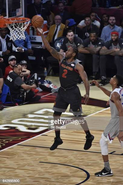 Kawhi Leonard of the Western Conference shoots the ball against the Eastern Conference during the NBA AllStar Game as a part of 2017 AllStar Weekend...