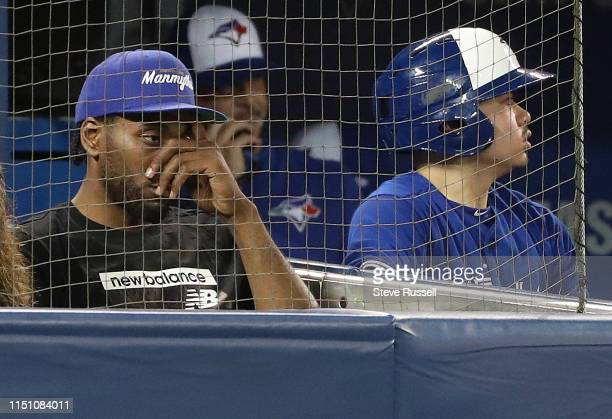 TORONTO ON JUNE 20 Kawhi Leonard watches as the Toronto Blue Jays play the Los Angeles Angels at Rogers Centre in Toronto June 20 2019