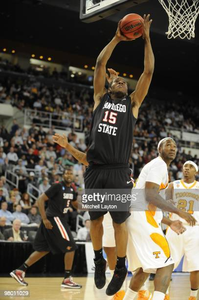 Kawhl Leonard of the San Diego State Aztecs drives to the basket during the first round of NCAA Men's Basketball Championship against the Tennessee...