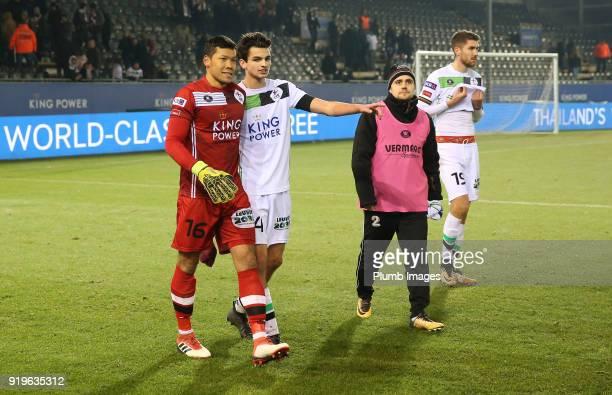 Kawin Thamsatchanan and Jarno Libert of OudHeverlee Leuven after the Proximus League match between OudHeverlee Leuven and BeerschotWilrijk at Stadium...