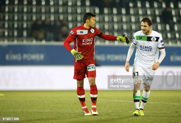 Kawin Thamsatchanan of OudHeverlee Leuven in action with Benjamin Boulenger of OudHeverlee Leuven during the Proximus League match between...