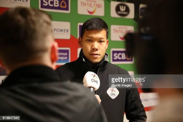 Kawin Thamsatchanan of OudHeverlee Leuven is interviewed after the Proximus League match between OudHeverlee Leuven and BeerschotWilrijk at Stadium...
