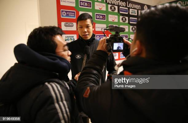 Kawin Thamsatchanan of OudHeverlee Leuven talks to the media after the Proximus League match between OudHeverlee Leuven and BeerschotWilrijk at...