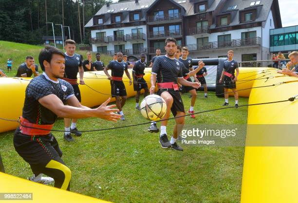 Kawin Thamsatchanan with Clément Fabre during team bonding activities during the OHL Leuven training session on July 09 2018 in Maribor Slovenia