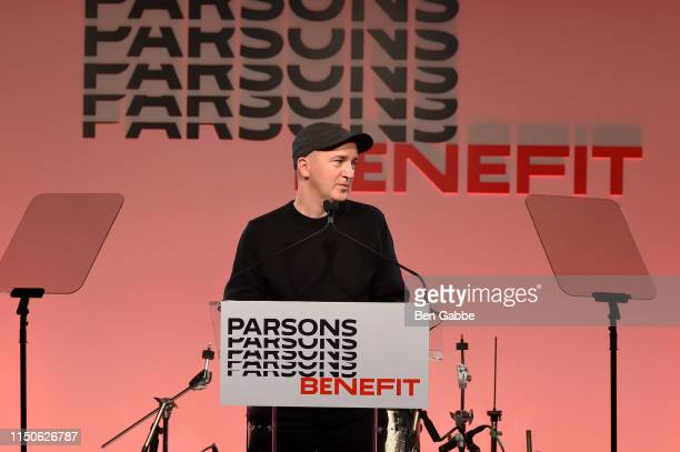 Kaws speaks onstage during the 71st Annual Parsons Benefit honoring Pharrell, Everlane, StitchFix & The RealReal on May 20, 2019 in New York City.