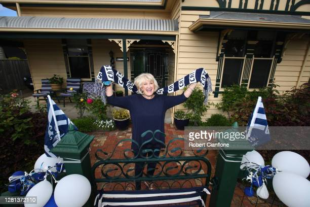 Kay Barkly poses in front of her home on October 21, 2020 in Geelong, Australia. The Geelong Cats take on Richmond Tigers in the AFL Grand Final on...