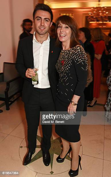 Kay Burley and son Alexander Kutner attend the Harper's Bazaar Women of the Year Awards 2016 at Claridge's Hotel on October 31 2016 in London England