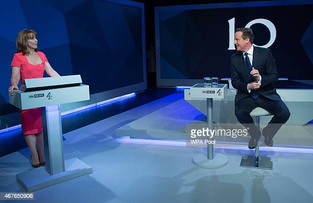 Kay Burley of Sky News interviews British Prime Minister David Cameron during the filming of 'Cameron Miliband The Battle For Number 10' on March 26...