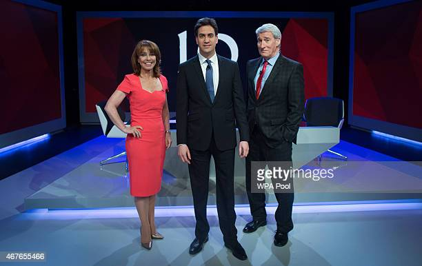 Kay Burley of Sky News poses with Labour Party Leader Ed Miliband and and Jeremy Paxman of Channel 4 ahead of the filming of 'Cameron Miliband The...