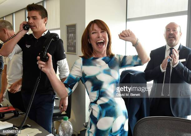 Kay Burley representing Brainwave makes a trade at the BGC Charity Day on September 11 2017 in Canary Wharf London United Kingdom